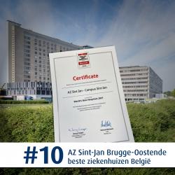 Newsweek best hospitals Certificate - AZ Sint-Jan plaats 10 België