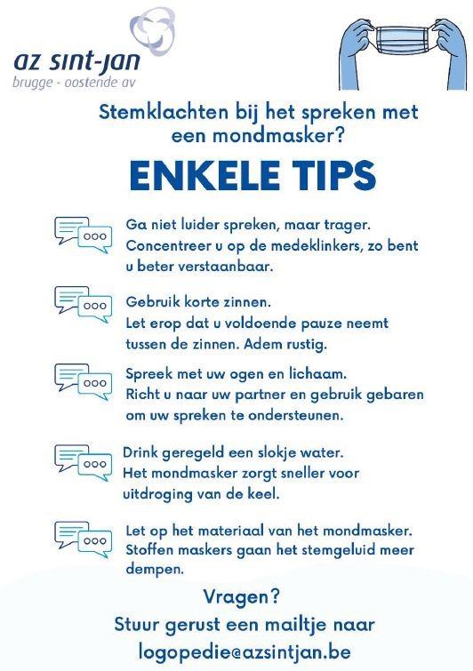 Tips voor spreken met een mondmasker