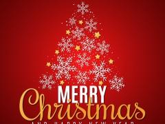 Rode kaart met kerstboom gevormd door wit en gouden sterren. Opschrift Merry Christmas and Happy New Year.