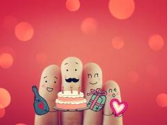 Vingertoppen versierd met gezichtjes - taart, cadeau, hartjes decoratie