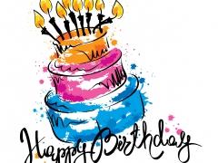 Happy Birthday, taart met kaarsjes