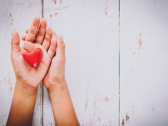 Hartvormig voorwerp in handen