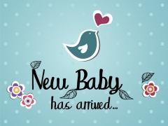 New baby has arrived - met vogel en bloemen