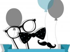 Happy Birthday - Bril, strik, snor en ballonnen