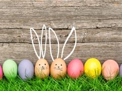 Gekleurde kippeneieren op gras. Twee eieren hebben een geschilderd konijnsnoetje en oren